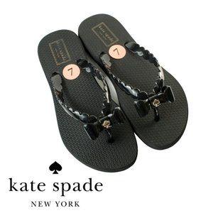 Kate Spade Black Bow Denise Flip Flops Size 7